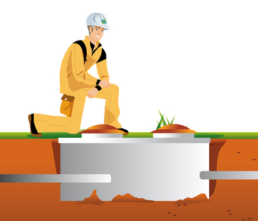 Animation of construction worker kneeling above a septic system in the ground of a new home