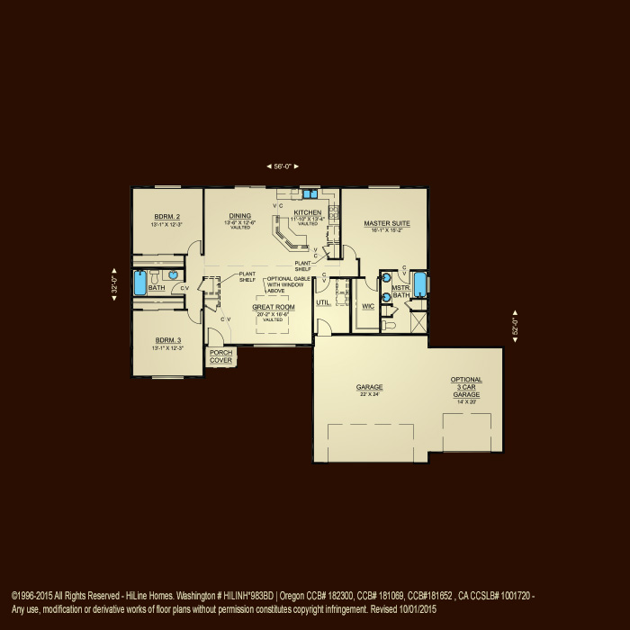 Floorplan 1721 hiline homes for Hiline homes floor plans