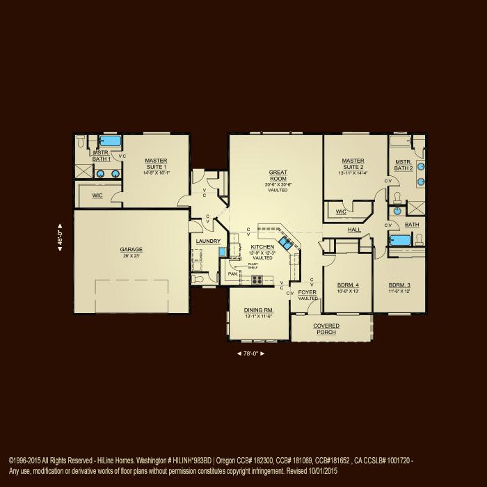 Floorplan 2494 hiline homes for Hiline homes floor plans