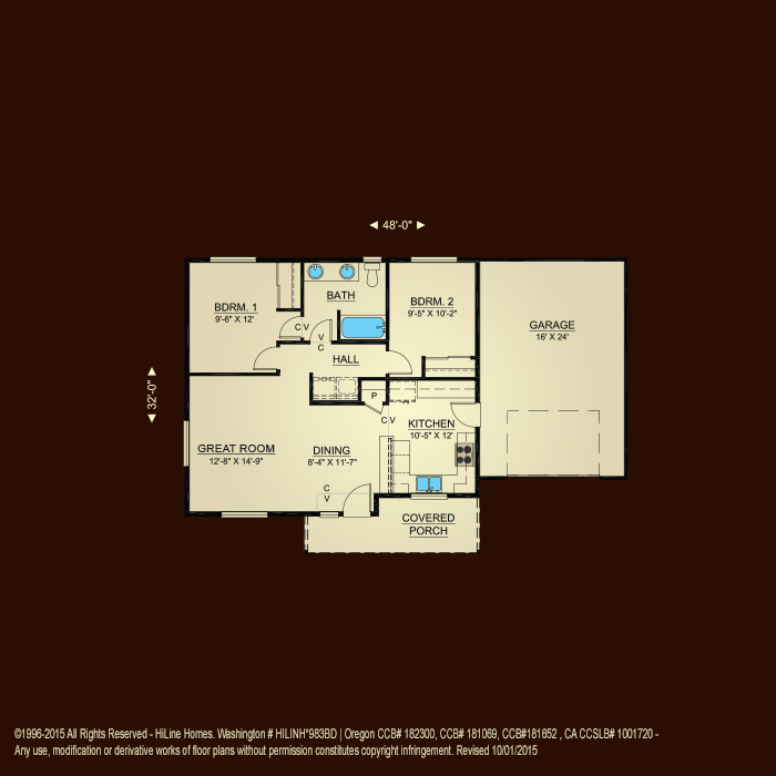 Floorplan 875 hiline homes for Hiline homes floor plans