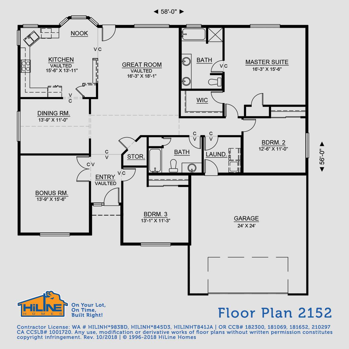 Floorplan 2152 hiline homes for Hiline homes floor plans