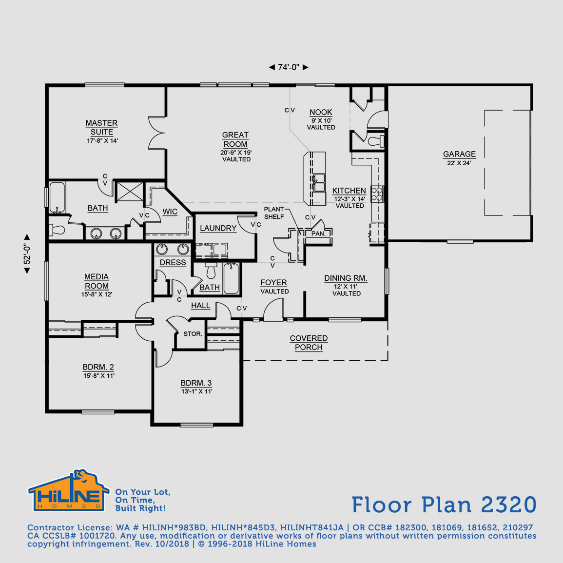 Floorplan 2320 | HiLine Homes on sloped lot floor plans, zero lot line home, huge master suite house plans, zero-entry house plans, zero lot line design,